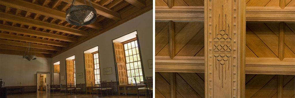 The grand ballroom at La Quinta features ornately hand-carved sugar pine beams and moldings.