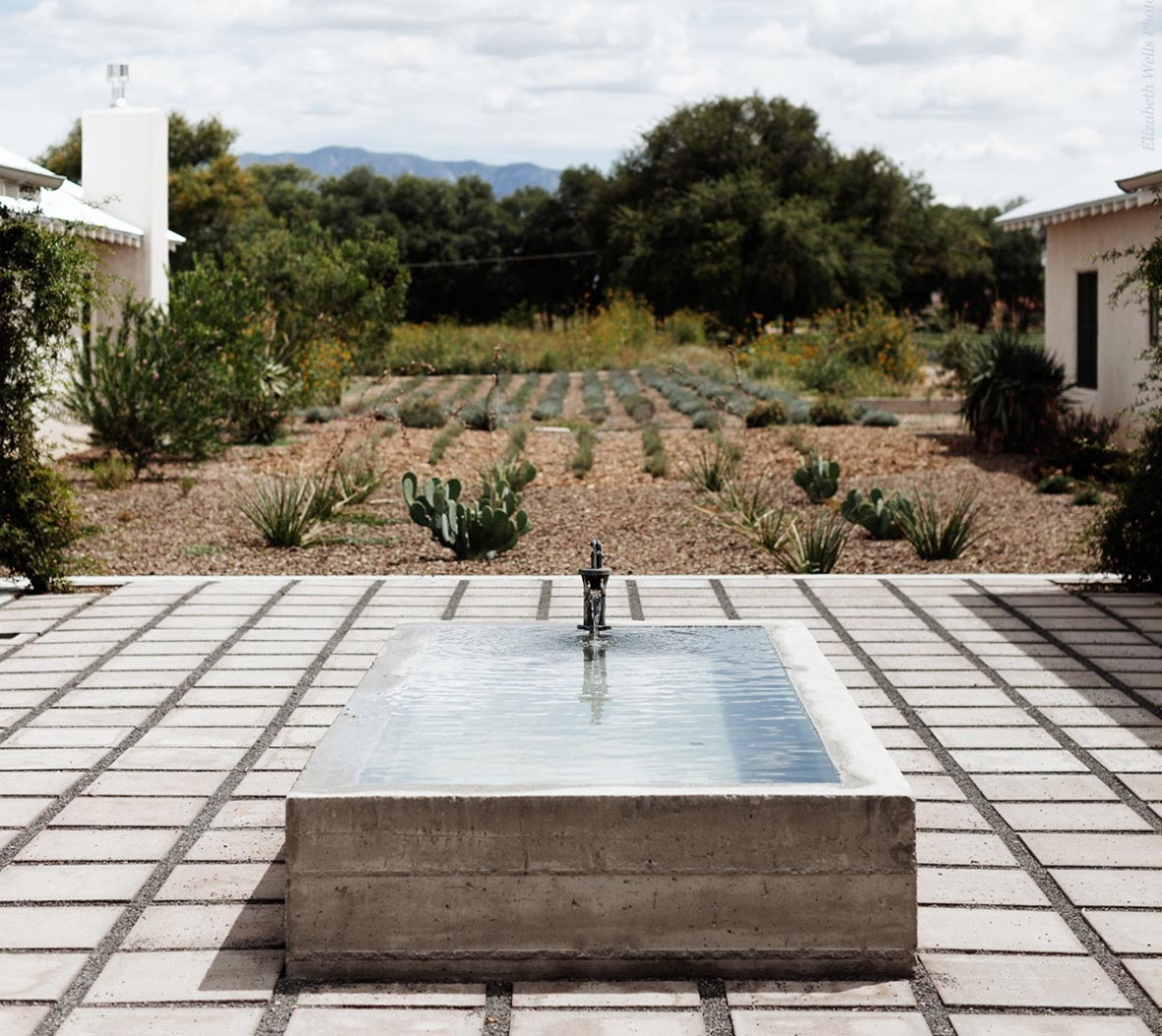 fountain in courtyard of field rooms