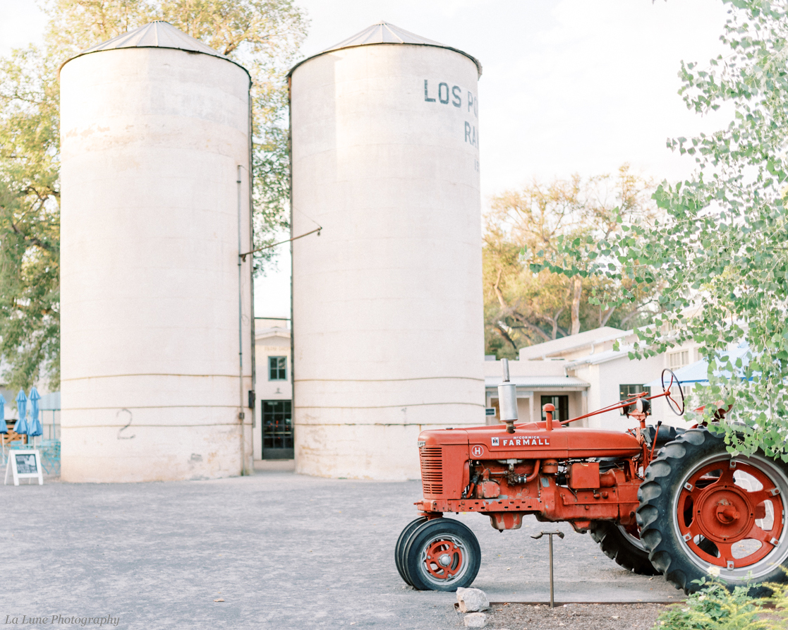 silos and red tractor