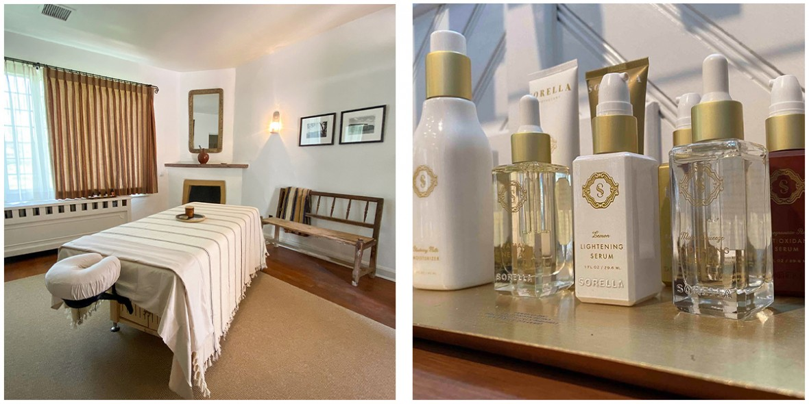 spa treatment bed and Sorella product