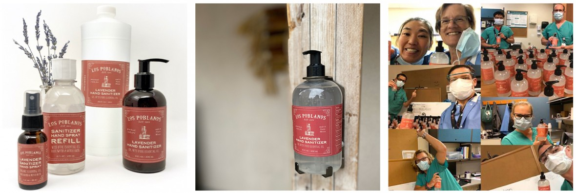 Los Poblanos sanitizer set with refills